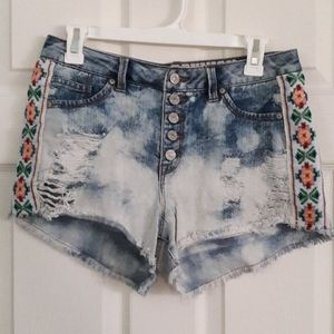 Vintage High Waisted Festive Rewash Shorts 7/8